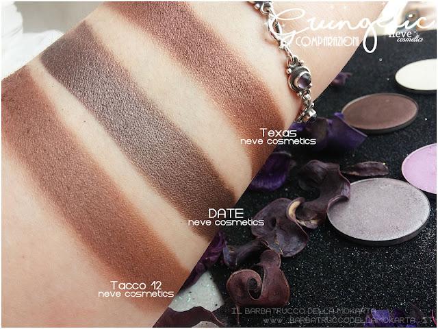 DATE comparazioni eyeshadow ombretti packaging Neve cosmetics  recensione, pareri, makeup, consigli, comparazioni