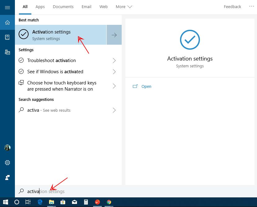 Nhấn phím cửa sổ Windows gõ từ khóa Activation > Chọn Activation Setting