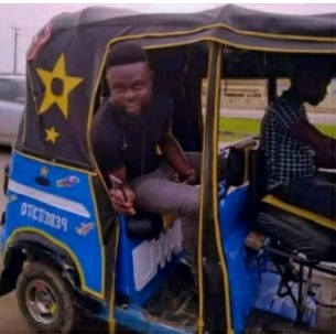 'My first time in keke Napep', says Yomi Casual the fashion designer.