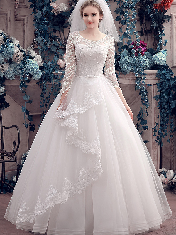 Stylish Scoop Neck Long Sleeves Lace Beading Ball Gown Wedding Dress