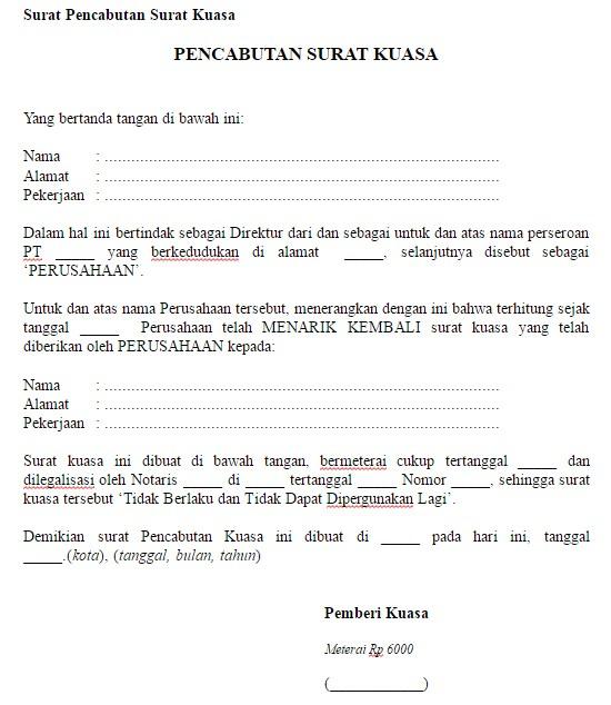 Download Format 3 Contoh Surat Pencabutan Surat Kuasa File Word