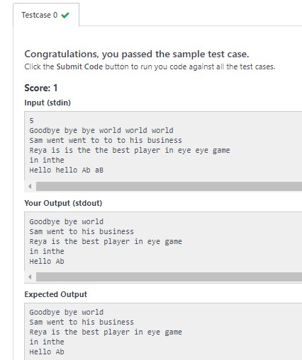 Hackerrank - Java Solution - Java Regex 2 - Duplicate Words Solution