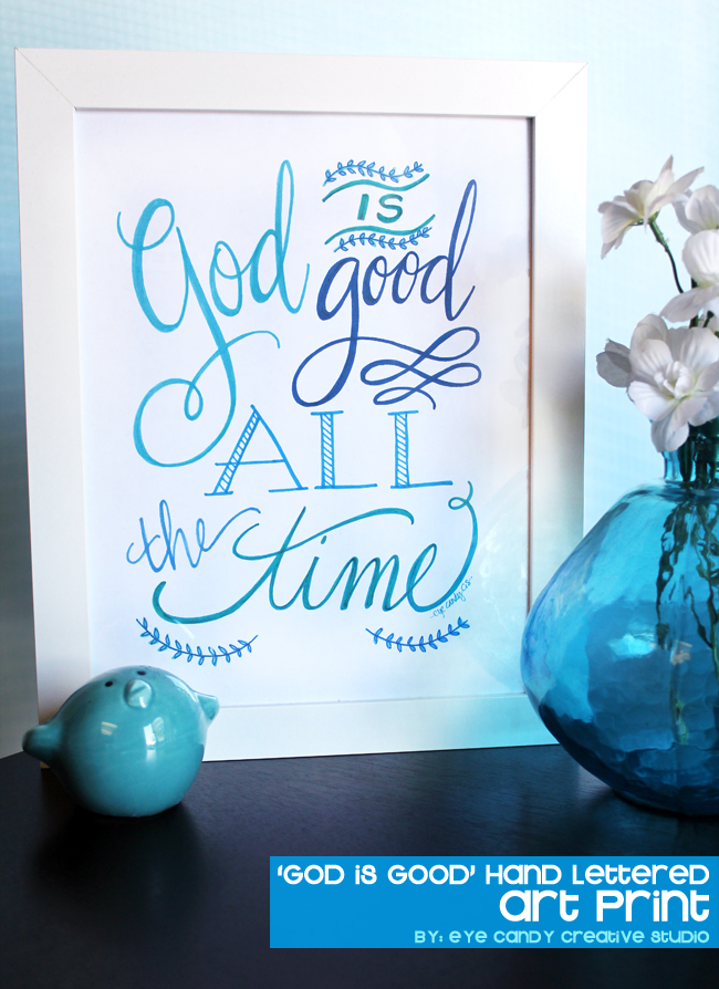 flowers, vase, faith art print, hand lettered inspirational print, blue ink