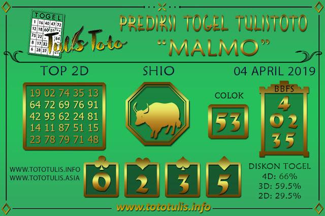 Prediksi Togel MALMO TULISTOTO 04 APRIL 2019