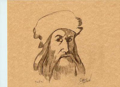 a pencil paint of leonardo davinci
