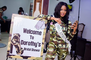 Nigerian bride and her maids rock camo at bridal shower