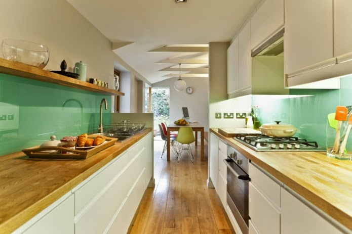 long narrow kitchen ideas: white and mint long narrow kitchen design