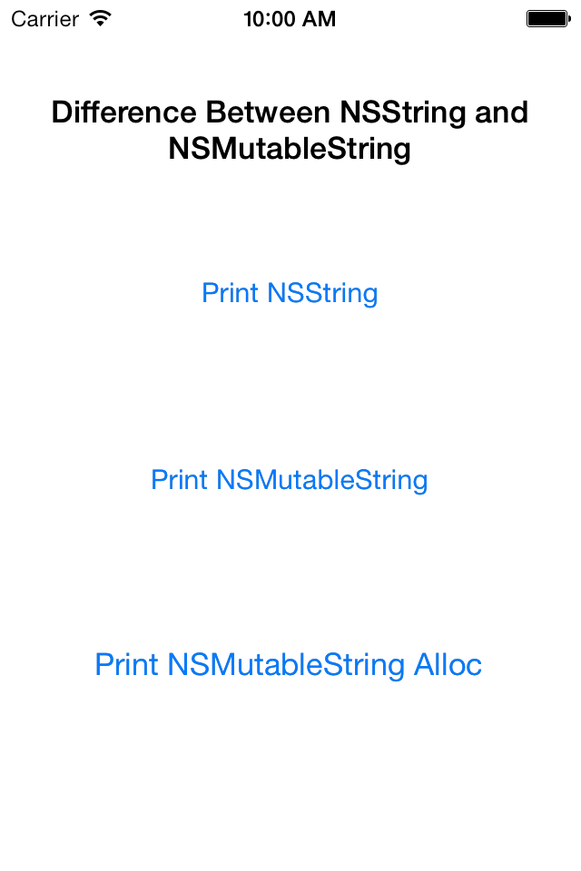 NSString and NSMutableString demo app