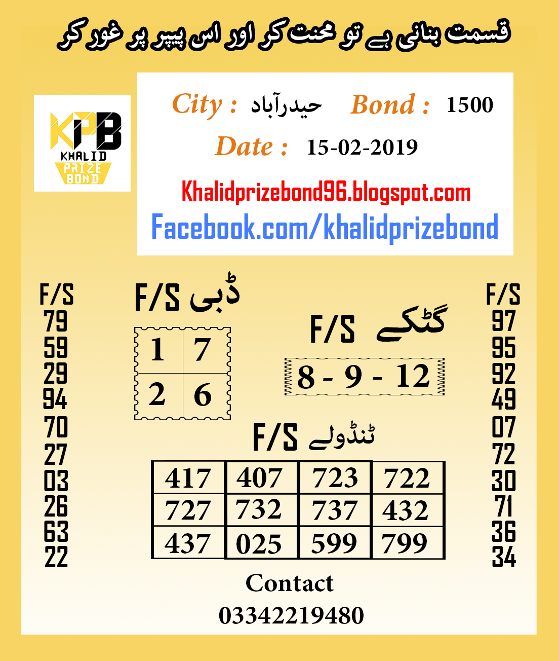 Prize Bond 1500 City Hyderabad F/S Akray And Tandolay VIP