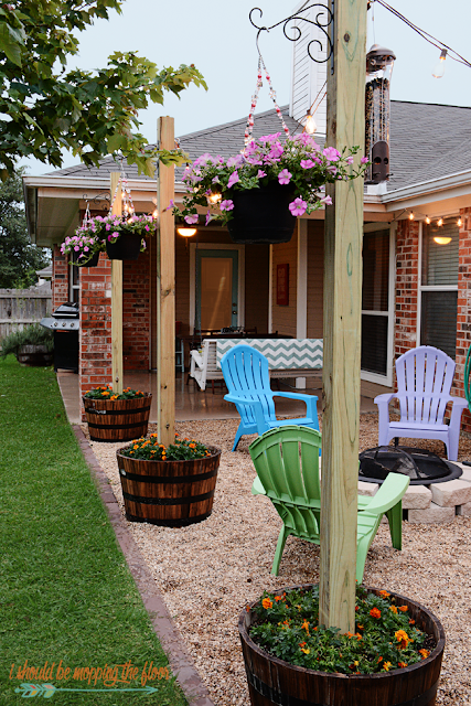 diy patio redo with texas lamp posts