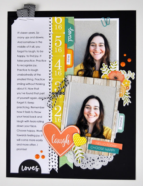 """Laugh"" scrapbooking process video layout includes video from Jen Gallacher at www.jengallacher.com. #scrapbooking #scrapbookprocess #jengallacher"