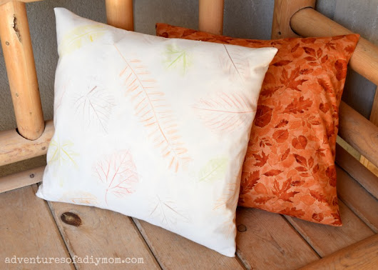 Fall Leaf Rubbing Pillow - a twist on a classic fall activity