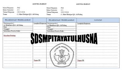 Download Agenda Harian Kelas 1 Dan 2 Kurikulum 2013 Mapel PAI Microsft Word