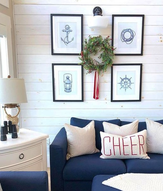 Nautical Living Room Christmas Decor