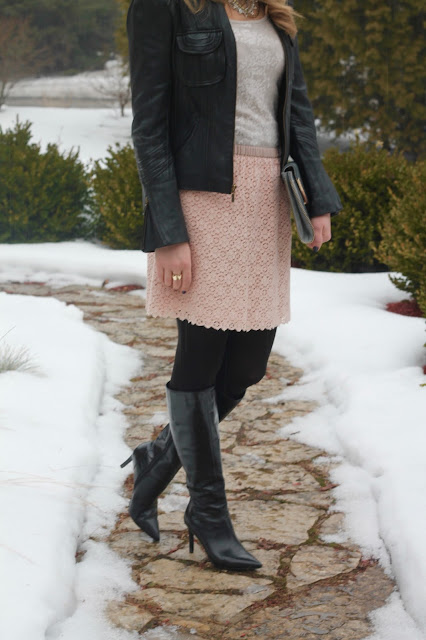 sequin top, lace blush skirt, moto jacket, and black boots
