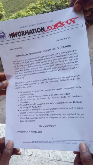 UNILAG Shuts Down Indefinitely as Students Protest Fuel Scarcity, Poor Electricity & More