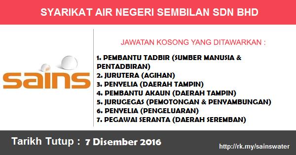 Jawatan Kosong di Syarikat Air Negeri Sembilan Sdn. Bhd. (SAINS)
