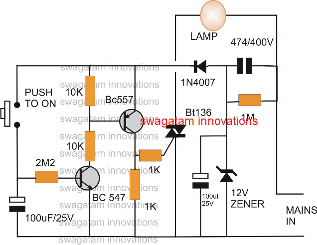 Simple Bedroom Lamp Timer Using IC 741