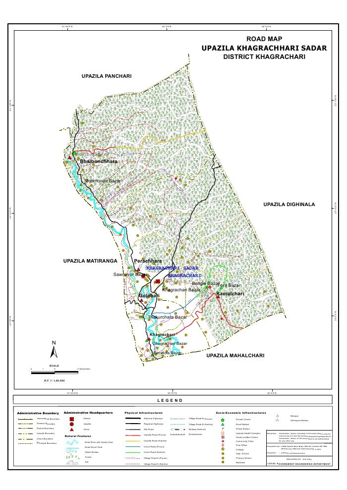 Khagrachari Sadar Upazila Road Map Khagrachari District Bangladesh