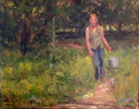 Paint where you are... Berry Picker oil on canvas by margaret aycock