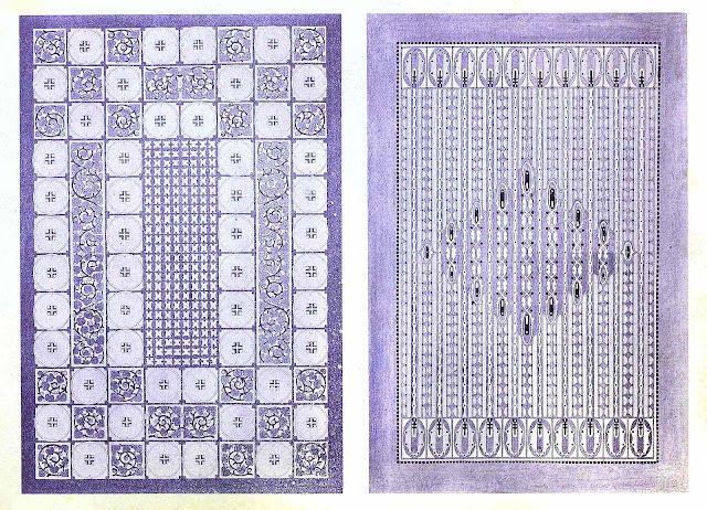 Two purple samples of 1909 ornament from Germany