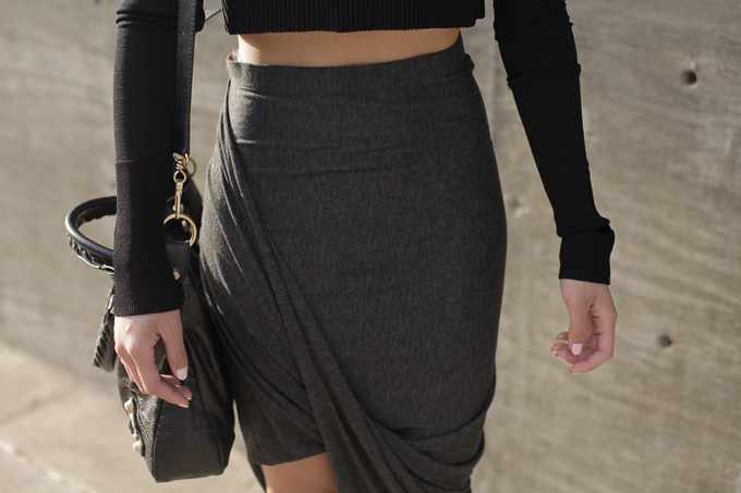 Zara crop top, Dailylook Asymmetrical skirt, Zara buckled block heel sandals, Balenciaga Arena bag, beautybitten