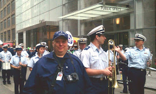 Photo Corps member Bob Daraio with the U.S. Coast Guard Auxiliary Marching Band