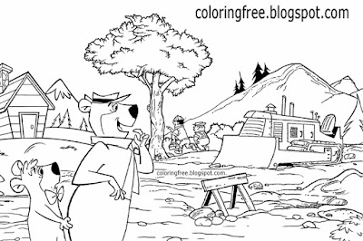 Woodland campsite landscape construction boys drawing kids US cartoon Yogi Bear coloring book pages
