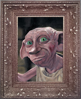 Framed oil painting of Dobby from Harry Potter - Robin Springett
