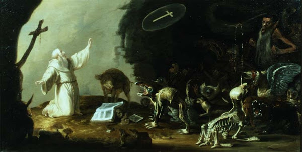 The Temptation of St Anthony, Cornelis Saftleven, Macabre Art, Macabre Paintings, Horror Paintings, Freak Art, Freak Paintings, Horror Picture, Terror Pictures