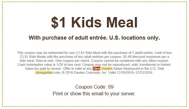 Arizona Families Olive Garden 1 Kids Meal Coupon