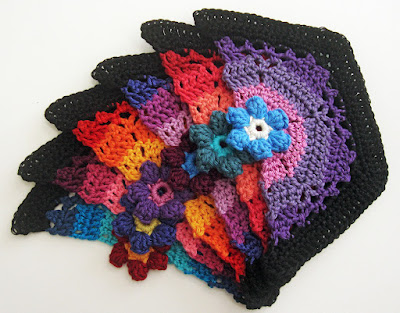 Robin Atkins, Frida's Flowers, crocheted half-blocks for sides of afghan
