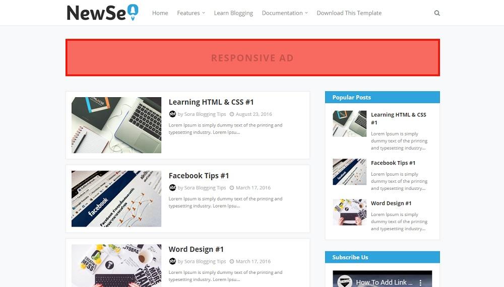 New Seo - Responsive Blogger Template
