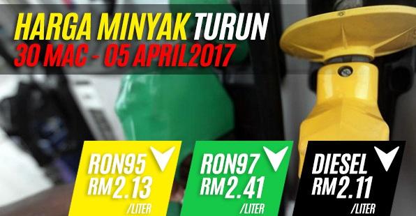 Harga Siling Minyak Untuk 30 Mac Hingga 5 April 2017 Turun