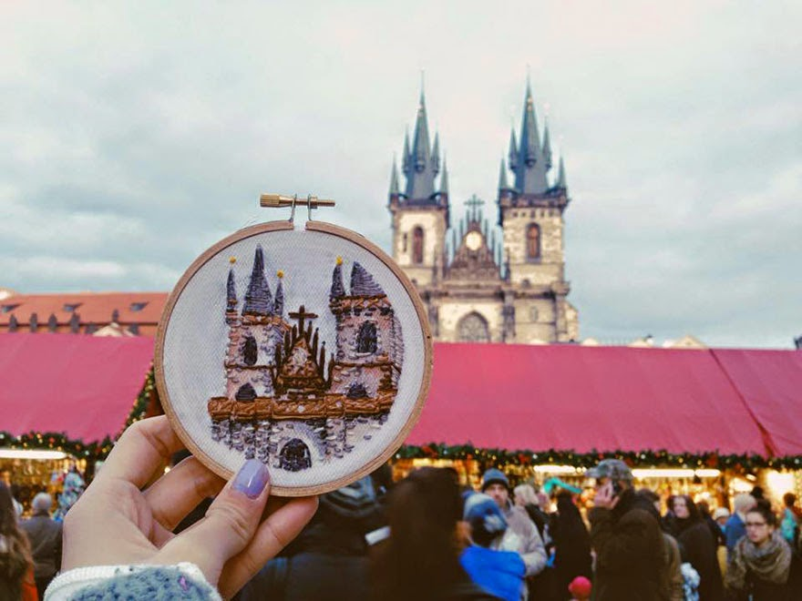 Prague - Sew Wanderlust: Designer Embroiders Her Travels On-Site Instead Of Taking Photos