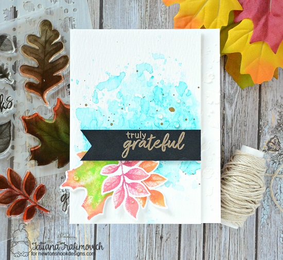 Fall Leaf Card by Tatiana Trafimovich | Shades of Autumn Stamp Set and Falling Leaves Stencil by Newton's Nook Designs #newtonsnook #handmade