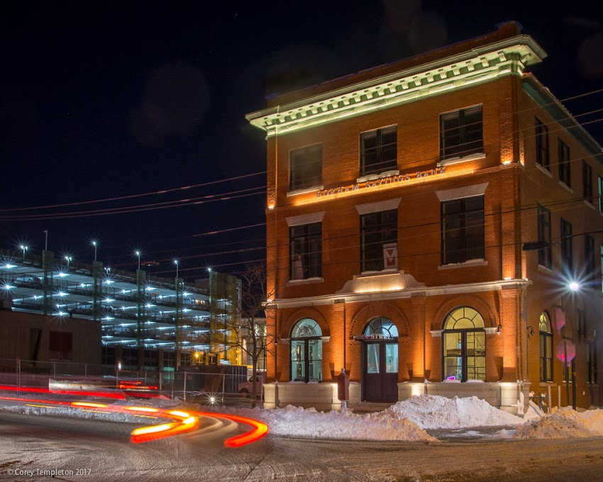 Portland, Maine USA February 2017 One India Street Grand Trunk office building renovation by Gorham Savings Bank night photo by Corey Templeton.