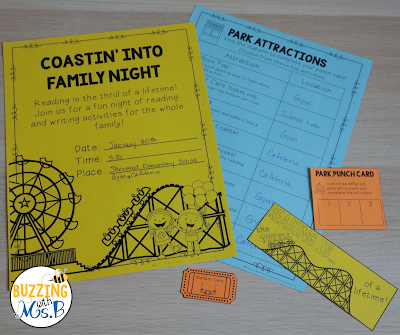 Looking for ideas for a family literacy night? Check out these eight amusement park themed stations complete with the materials you need for hands-on activities in reading, writing, listening, and speaking! There's even a make-and-take word game activity, a partner play, writing activities, a fun food craft, and even more fun ways for parents and kids to interact around literacy. An editable flyer to invite parents to the event plus other editable materials are included! #familyliteracynight #familyliteracyactivities