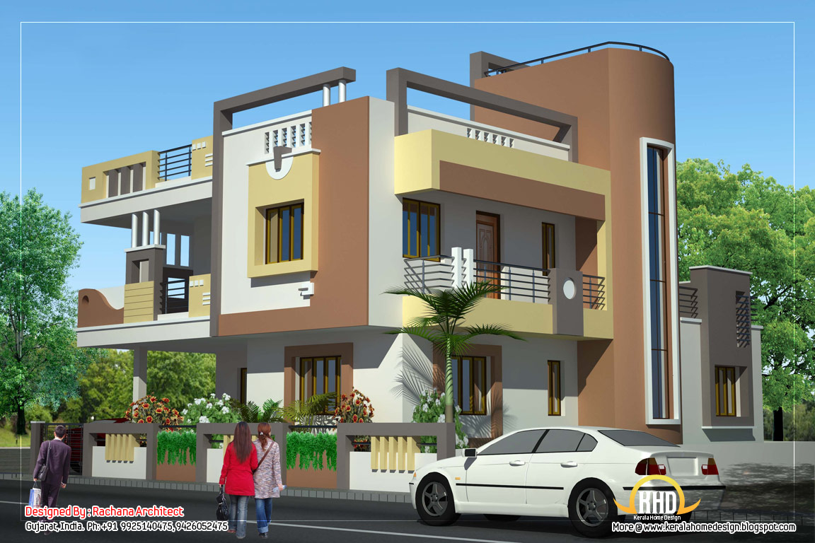 Duplex house plan and elevation 2878 sq ft kerala for Front view of duplex house in india