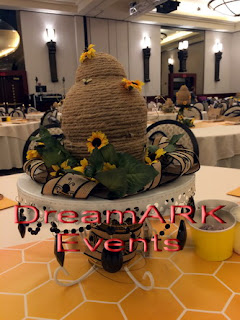 Honey Bee themed centerpiece with beehive
