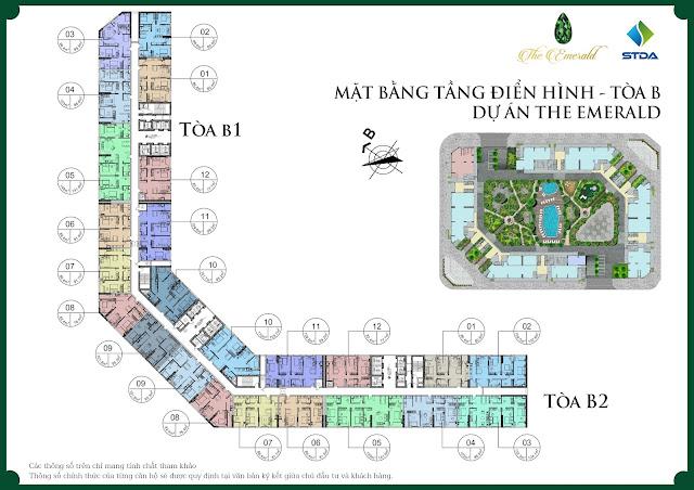 Mặt bằng thiết kế tổng thể The Emerald - CT8 Đình Thôn
