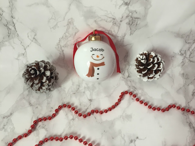 Personalised white chine snowman bauble