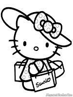 Lembar Mewarnai Gambar Hello Kitty