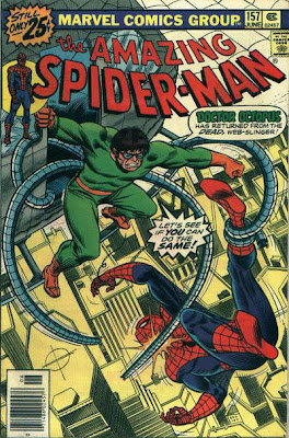 Amazing Spider-Man #157, dr octopus attacks spider-man from a helicopter flying over the streets of new york
