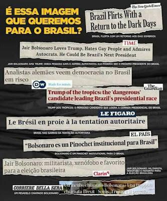 Montagem com manchetes da imprensa internacional