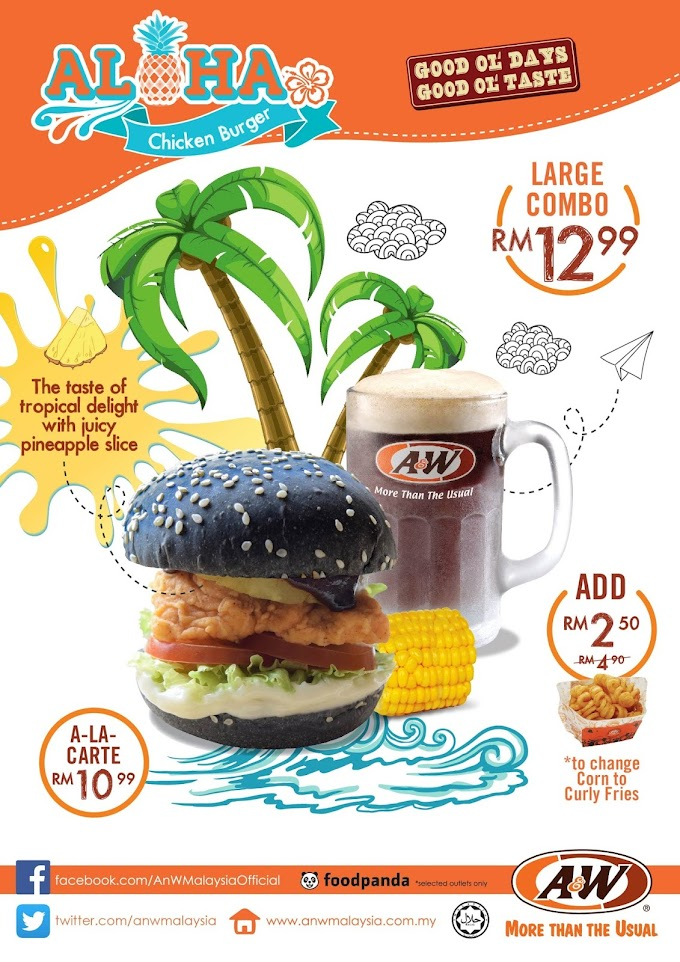 A&W Aloha Chicken Burger Combo