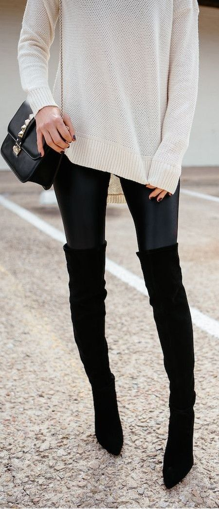 white and black | sweater + bag + skinnies + over the boots