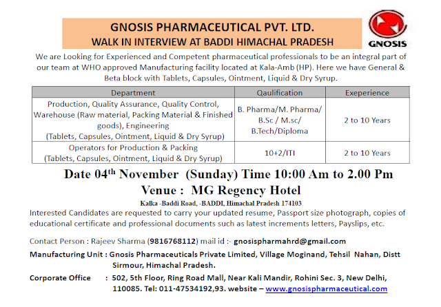 Gnosis Pharmaceuticals Walk In For Quality Assurance, Quality Control, Production, Warehouse, Packing, Engineering at 4 November