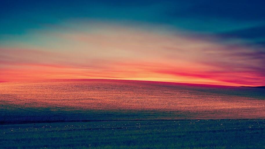 Sunset, Grassland, Landscape, Scenery, 4K, #6.934