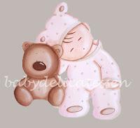 silueta de madera infantil bebé durmiendo con osito babydelicatessen